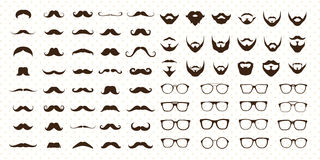 髭、胡子和太阳镜样式集合 库存例证