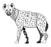鬣狗zentangle传统化了,导航,例证,徒手画的铅笔 免版税库存照片