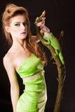鬣鳞蜥妇女 库存照片