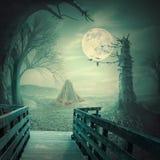 鬼的万圣夜背景用在秸杆堆的南瓜 库存图片