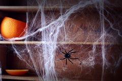 鬼的万圣夜蜘蛛网背景 免版税库存照片