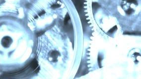 鬼魂全息图老秒表时钟齿轮机构滴答作响的旋转电机 股票视频