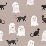 鬼魂和恶意嘘声万圣夜夜庆祝的 在纸板背景的无缝的样式 图库摄影