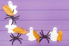 鬼魂和蜘蛛不同的纸剪影与秋叶由万圣夜角落框架制成 免版税库存照片
