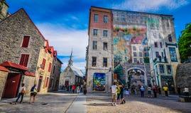魁北克历史城区壁画 库存照片