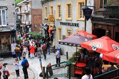 魁北克历史城区小的CHAMPLAIN 库存照片