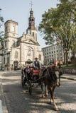魁北克市加拿大13 09 2017在Notre Dame魁北克零件老镇前面大教堂大教堂的旅游马支架  免版税库存照片