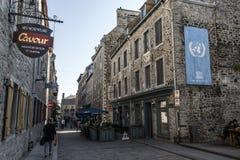 魁北克市加拿大13 09 2017地方Royale皇家广场和Notre Dame de Victories Church联合国科教文组织世界遗产珍宝 免版税库存照片
