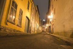 魁北克市夜视图 库存照片