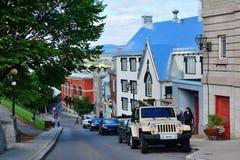 魁北克市街视图 免版税库存图片