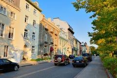 魁北克市街视图 免版税库存照片