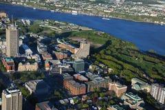 魁北克市鸟瞰图  库存照片