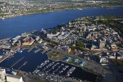 魁北克市鸟瞰图  免版税库存图片