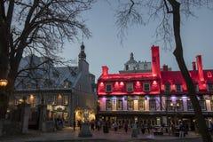 魁北克市,加拿大在晚上 免版税库存照片