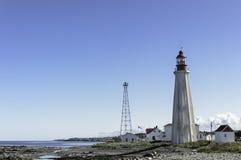 魁北克灯塔和村庄 免版税库存图片
