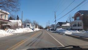 魁北克的街道在冬天 库存照片