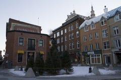 魁北克,加拿大- 2016年2月03日:魁北克历史城区,联合国科教文组织看法  免版税图库摄影