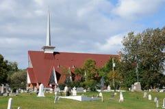魁北克,教会在Tadoussac的Sainte Croix 库存图片