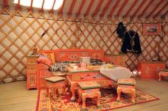 魁北克,蒙古yurt在圣徒Felicien动物园里 库存图片