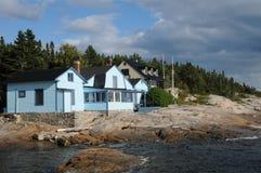 魁北克, Tadoussac美丽如画的村庄  免版税库存照片