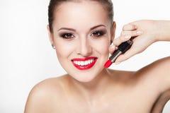 魅力嘴唇塑造红色妇女年轻人 免版税库存照片