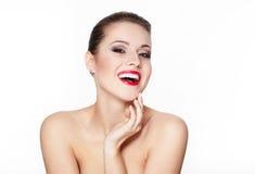 魅力嘴唇设计红色微笑的妇女年轻人 免版税库存图片