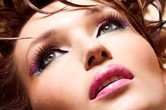 魅力妇女的美丽的面孔 免版税库存照片