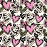 魅力心脏无缝的时髦背景 免版税库存照片