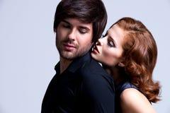 魅力性感的夫妇画象在爱的 库存照片