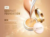 魅力紧凑基础广告 有坐垫的化妆容器 在闪烁bokeh的奶油色流程和液体纹理 免版税库存图片