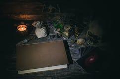 魔术占卜用的纸牌和书  库存图片