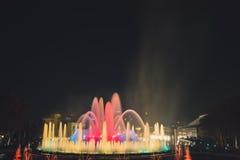 魔术喷泉光显示在巴塞罗那,西班牙 图库摄影