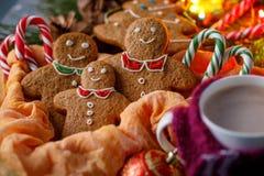 魔术圣诞节大气  姜饼和热的可可粉在一个杯子有一条快乐的围巾的 滑稽的微笑的小的人和棒棒糖 免版税图库摄影