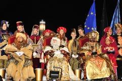 魔术家列队行进在塔拉贡纳,西班牙 图库摄影