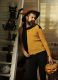 魔术师和被雕刻的南瓜 有胡子的人拿着起重器灯笼 库存图片