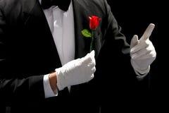 魔术师执行的红色玫瑰年轻人 免版税库存图片