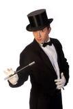 魔术师执行的鞭子年轻人 库存照片