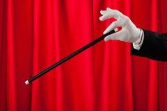 魔术师特写镜头有不可思议的鞭子的 库存图片