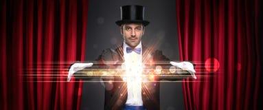 魔术师陈列把戏 库存照片