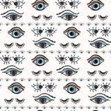 魔术所有看见的眼睛手拉的无缝的传染媒介样式 库存例证