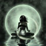 魔术瑜伽-月光凝思 图库摄影