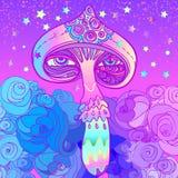 魔术蘑菇 荧光的幻觉 充满活力的传染媒介illus 库存例证