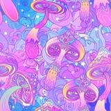 魔术采蘑菇无缝的样式 荧光的幻觉 VIB 皇族释放例证