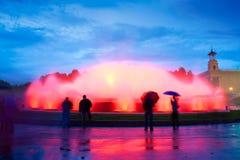 魔术巴塞罗那的喷泉 库存图片