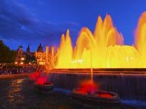魔术巴塞罗那的喷泉 免版税图库摄影