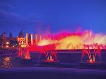 魔术巴塞罗那的喷泉 免版税库存图片