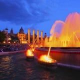 魔术巴塞罗那的喷泉 库存照片