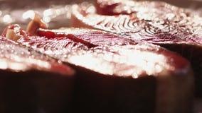鱼三利益在他们自己附近起动一块板材 厨师三文鱼去骨切片储蓄英尺长度食物 美丽的水多的红色鱼 股票视频