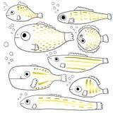鱼传统化了 套抽象海鱼 动画片 汇集 儿童` s图画 线艺术 向量 图库摄影