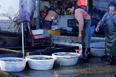鱼卖主在古城丽江,云南,中国附近的一个村庄市场上 免版税库存照片